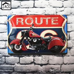 Wholesale Metal Sign Printing - Route66 Motorcycle 20x30cm Retro Poster Metal Tin Signs Iron Plaque Art Printed Advertising Paintings Shop Bar Garage Wall Decor
