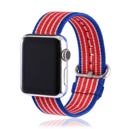 Wholesale Watch Bands Nylon Straps - Woven Bands For Apple Watch Strap Leisure Sport Nylon Wristband Casual Style Colorful Rainbow Bracelet Wristband 42MM and 38MM