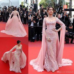 Sonam kapoor robes de soirée en Ligne-Sonam Kapoor Elie Saab Overskirt Robes de soirée 2017 Pink Appliqued Formal Party Robes Zipper Back Tapis rouge Robes de soirée Robes de soirée