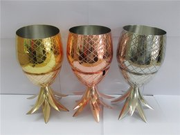 Wholesale Copper Castings - 1PCS 500ml Pineapple Cocktail Cup Moscow Mule 304 Stainless Steel Pineapple mug Metal Copper Cups
