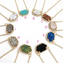 Wholesale Druzy Charms - Hot Popular Kendra Scott Drusy Druzy Necklace Various 10 Colors silver Gold Plated Geometry Stone Necklaces Best for Lady Grace Mix Colors
