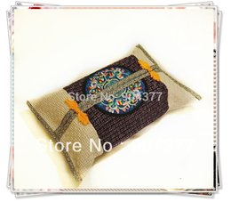 Wholesale Unique Shipping Boxes - Wholesale- Unique Chinese style Embroidered Hessian Pocket Tissue Box Cover , Tissue pumping Sets many color 2pcs lot Free shipping