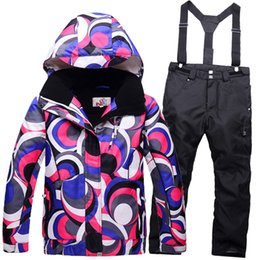 Wholesale Children Thermal Sets - Wholesale- Winter Super Thermal Russia Ski Suit Girls Minus 30 Deegrees Waterproof Windproof Children Jacket + Trousers Snow Skiing Sets