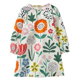 chicas flora vestidos de algodon Rebajas Chica vestido de flora nueva marca de algodón otoño invierno imprimir vestido de manga larga ropa de niños príncipes vestidos