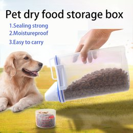 Wholesale pet plastic material - New Dog Cat Pet Food Storage Container Wet Dry Food Dispenser with Graduated Cup Food-grade environmental PP material