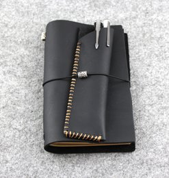 Wholesale Kraft Paper Note Book - Wholesale- 2015 handmade note book kraft paper Black Genuine Leather Cowhide notepad journal D0522
