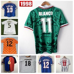 France 1998 World Cup Retro Football Shirts Mexico 1988 Shirts Netherland  Germanys 1990 Argentina Brazil Retro Jersey Beckham zidane HENRY affordable  france ... de70b70ac