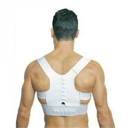 Wholesale Magnetic Back Shoulder - Wholesale- Men Women Magnetic Posture Corrector Braces&Support Body Back Pain Belt Brace Shoulder For Care Health Adjustable Posture Band