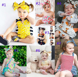 Wholesale Girl Summer Romper - 7 Style Baby INS flower fox Rompers Girl honeybee watermelon Cotton Lace print romper Big Bows headbands 2pcs sets baby clothes B