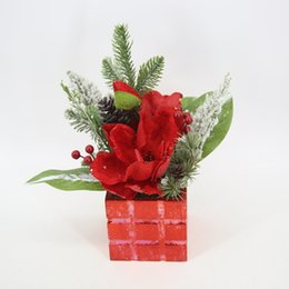Wholesale Plastic Pine Needles - 3pic a lot Christmas potted decoration Holiday decorations Artificial flower Christmaspine nut,flower, pine needles and berry
