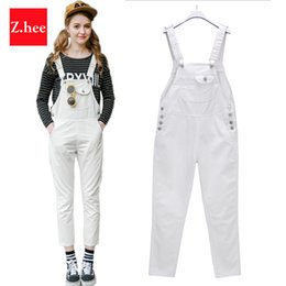 Wholesale Sexy Stretch Jumpsuits For Women - Wholesale- S-5xL Tank Tops Women Ripped Denim Jumpsuits Casual Sexy Stretch Romper Plus Size 5XL Ladies'Denim Pencil Overalls For 4 season