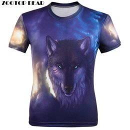 Wholesale Bear Men Costume - Wholesale- WAIBO BEAR New 2017 3D T shirt Men Animal print Fierce wolves Short Sleeve Costume Wolf Fitness tshirt Galaxy homme Camisetas