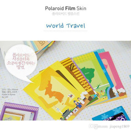 Wholesale Polaroid Photos - Colorful Photo Sticker Colorful Polaroid Film Skin Decorative Paper Frame DIY Toy 10 Sheets a Pack, World Travel Animal Circus