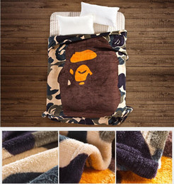 Wholesale Fleece Carpet - APE green, pink, blue, ape-man, shark camouflage sheet leisure summer blankets with thick flannel blanket carpet 130 * 150
