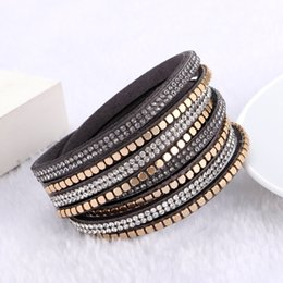 Wholesale Crystal Rhinestone Leather Bracelets - Fashion Jewelry Crystal Wrap Bracelets & Bangles for Women Rhinestone Leather Bracelet Crystal Charm Braclets Christmas Gift