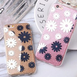 Wholesale Hybrid Flower Case - Hybrid Soft TPU Bumper + PC Back Cover Flowers Glitter Bling Shock-Absorbing Protective Shell Case For iphone 6s plus iPhone 7 plus cases