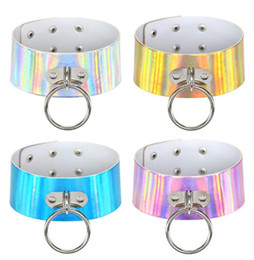 Wholesale Stainless Steel Collars For Slaves - Rainbow Laser PU Leather Choker Necklace Metal Big Ring Charm Choker Necklace Collar Sub Slave Necklace For Women Fashion Statement Jewelry