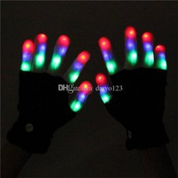 Wholesale White Rave Glove Lights - 2016 Christmas LED Rave Gloves Mitts Flashing Finger Lighting Glove LED Colorful 7 Colors Light Show Black and White