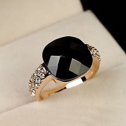 Wholesale diamond semi ring - Black Semi-precious stone Wedding Rings for women CZ Diamond Jewelry Anel Rose Gold Plated Crystal rings female gift toq quality