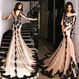 Wholesale Nude Corset Evening Dress - 2017 Champagne New Fashion Mermaid Evening Dresses Black Lace Appliques Sheer Crew Neck Long Sleeves Lace Corset Back Prom Party Gowns