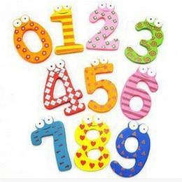 Деревянные магниты для детей онлайн-Оптовая торговля-10 число рисунок образовательные дети дети деревянный Магнит игрушки цифровой магнитной игрушки холодильник холодильник JK885895