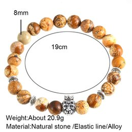 Wholesale Crown Picture - European and American wind the crown lion bracelet hand string of natural stone picture hot style beads bracelet foreign trade wholesale