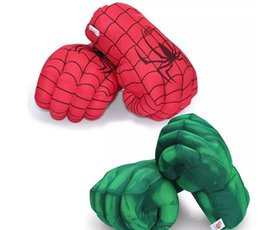 Wholesale Smash Toys Wholesale - 2017 The Incredible Hulk Spiderman Smash Gloves 30cm Superhero Figure Toys Kids Children Christmas Toy