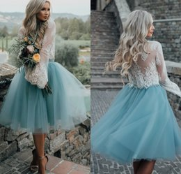 Wholesale Dark Blue Tulle Skirt - High Fashion Two Pieces Long Sleeves Homecoming Dresses White Lace Top with Tutu Skirt Knee Length Prom Dress Cheap Party Gowns