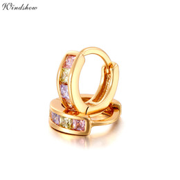Wholesale Gold Earrings For Kids - Wholesale- Gold Color Pave Colors Zirconia CZ Small Circles Huggies Hoop Earrings For Children Girls Baby Kids Jewelry brinco pequeno Aros