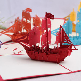 Wholesale Sailboat Card - DIY handmade sailboat greeting card birthday party decorations kids sailling boat art paper pop up cards Christmas greeting card