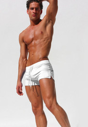 Wholesale Sexy Men Wearing Swimming Shorts - Man Swimming Trunks Hot Sexy Men Swimwear Brand Aqux Men's Swimsuits Surf Board Beach Wear Swim Suits Gay Pouch Boxer White Shorts