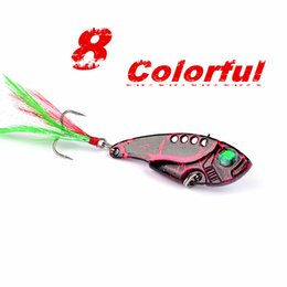 Wholesale Vib Hard Bait - Slice Summer Metal VIB Mepps Fishing Lure 8pcs lot Wobbler Peche Spoon Bait Fishing Tackle Artificial Hard Fake Fishing Metal Lures