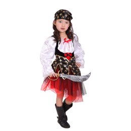 Wholesale Costume Kid Pirate - Multi-color Long Sleeves Skull Print Peplum Dress Halloween Carnival Party Pirate cosplay Costumes for 4-12Y Children Kids Girls