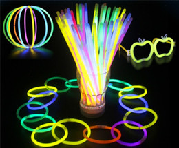 Wholesale Led Glowing Wand - Hot 7.8'' Glow Stick Bracelet Necklaces Neon Party LED Flashing Light Stick Wand Novelty Toy LED Vocal Concert LED Flash Sticks JC183