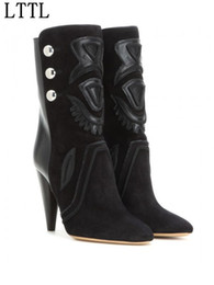 Wholesale Embellished Boots - 2016 Suede And Leather Embellished Bottoned Women Ankle Boots High Heels Pointed Toe Black Zip Booties Autumn Winter Shoes Woman