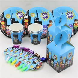 Wholesale Candy Boxes Glass - Wholesale-Baby Shower Candy Box Superhero Happy Birthday Party Blow Out Decoration Supplies Paper Plates Kids Favors Cups Glass 24pcs\lot