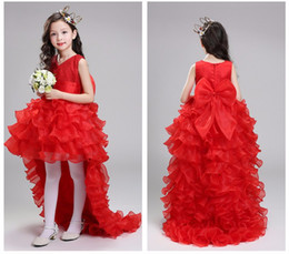 Wholesale Elegant Evening Kids Dresses - Retail Flower Girl Dresses For Weddings Elegant Trailing Gown Free Shipping Girls Princess Dress Kids Evening Gowns LS003TW