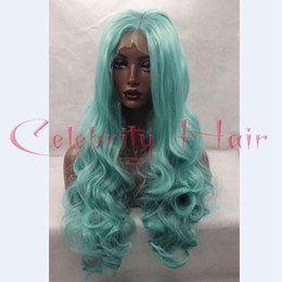 Wholesale Yellow Lace Wig - Cheap Cosplay Wigs Body Wave orange Yellow Hair Products Synthetic wigs Bright Blue for black women lace front Synthetic Hair