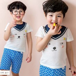 Wholesale Dog Boy Set - boys clothing Summer Cartoon Baby Outfits Dog Short Sleeve T-shirt + Ruched Shorts 2pcs Sets Fashion Toddler Pajamas Set C1001