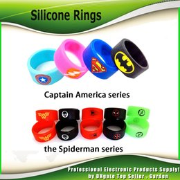 Wholesale Band Logos - Vape Band Silicone Rings with Superman Flash spiderman Captain America Logo Colorful Rubber Rings fit RDA RTA Atomizer Mod 2244007