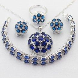 Wholesale Necklace Earring Bracelet Set Jade - Silver Color Jewelry Sets Blue Cubic Zirconia Drop Earrings Bracelets Set Necklace Pendant Rings For Women Free Gift Box