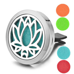 Wholesale Clip Air - Essential Oil Car Diffuser Locket Car Air Vent Clip 316L Stainless Steel Pendant Magnetic Lotus without Felt Pads VA-304