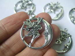 Wholesale Antique Coin Jewelry - 15pcs Antique Silver Tone Moon & Fairy Angel Round Charms Pendants For Jewelry Making 26mm