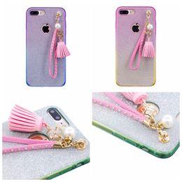 Wholesale Iphone 5s Bow - Fashion tassel Diamond Bow Bling Glitter Sparkle Soft TPU Case For iPhone X 8 I7 I8 7 6 6S Plus 5 5S SE Dual Color Pendant Shiny Cover 10pcs