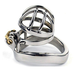 Wholesale Small Penis Ring - Stainless steel male chastity device small cage metal chastity cage belt penis ring sex products 273