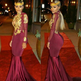 Wholesale Long Cut Sleeves Tops - 2017 African Burgundy Long Sleeve Gold Lace Prom Dresses Mermaid Beaded Applique High Neck Backless Evening Party Gowns Cut Out Illusion Top