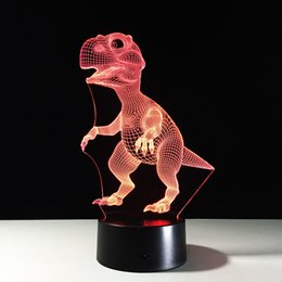 Wholesale Dinosaur Cup - Small Dinosaur 3D Optical Illusion Lamp Night Light DC 5V USB Charging AA Battery Dropshipping Free Shipping