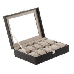Wholesale Professional Jewelry Storage - 1Pcs Professional Black Quality PU Leather 10Grid Wrist Watch Display Box Jewelry Storage Holder Organizer Case