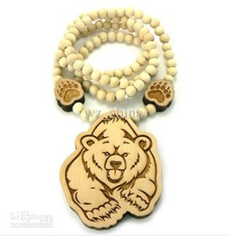 """Wholesale Wood Bear Pendant - BEAR Piece Hip Hop Good Wood Pendant with 36"""" Wooden Ball Chain Necklace"""