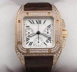 Wholesale Eta Big Watches - Hot Luxury brand ETA 7750 automatic chronograph brown leather band mens watches men sport watch sapphire quality big dial